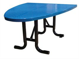 Half-Oval Perforated Metal Outdoor Cafe Table
