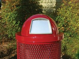 Commercial Steel Dome Trash Can Lid with Door