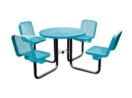 Expanded Metal Picnic Table and Four Chairs