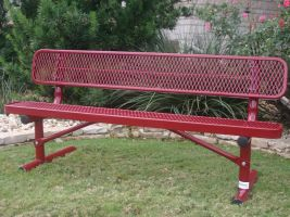 Commercial 6' Park Bench in Expanded Metal style