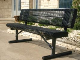 6' Rolled Edge Bench w/Back - Perforated