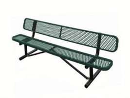 6' Expanded Metal Bench with Back