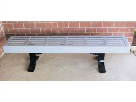 6' Commercial Backless Park Bench - Horizontal slat style