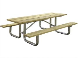 Portable Wooden Commercial Picnic Table - 6'