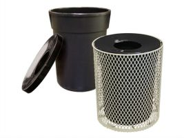 PVC Coated Exp. Metal Trash Receptacle, Liner & Lid