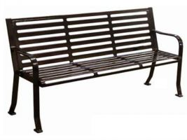 6' Commercial Park Bench - Horizontal slat style