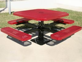 Commercial Grade Octagonal Expanded Metal Pedestal Table