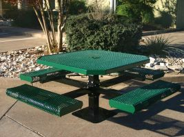 Octagonal Pedestal Table w/Rolled Edge Expanded Metal Seats
