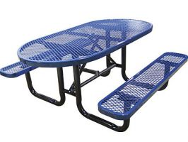 Expanded Metal Oval Picnic Table for parks and playgrounds!