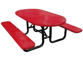 Perforated Metal Oval Picnic Table for parks and playgrounds!