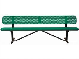 School or Park Bench 6ft Perforated Metal Bench with Back