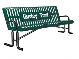 6ft Customizable Slat Back Bench with Arm Rests