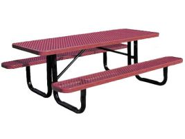 Portable Expanded Metal Commercial Picnic Table - 6'