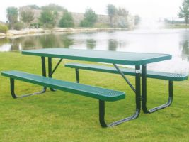 Commercial 8' Picnic Table in Expanded Metal style