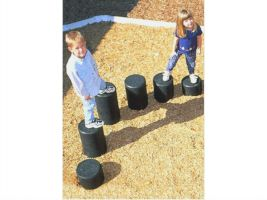 Recycled rubber hop posts for commercial playgrounds