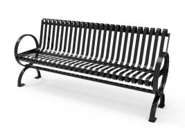 6ft Steel Slat Bench w/Circle Arm Rests - Surface Mnt