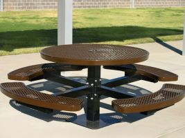Commercial Grade Round Pedestal Table with Expanded Metal
