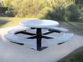 Solidtop Round Pedestal Table with Expanded Metal