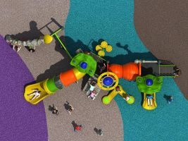 Top View of Space Themed Playground Activities