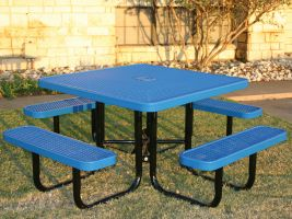 Commercial Square Table in Expanded Metal style