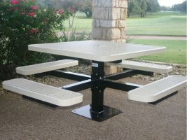 Commercial Square Pedestal Table in Expanded Metal style