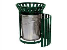 Metal Side Door Trash Can, Galv. Liner and Spun Metal Lid