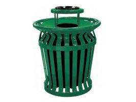 Banded Metal Slat Trash Can, Liner and Smokers Lid
