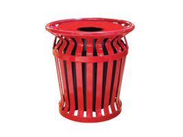 32 Gallon Banded Metal Slat Trash Can, Lid and Liner