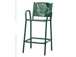 Tall Chair or Bar Stool with Back & Arms in Perforated Metal Style