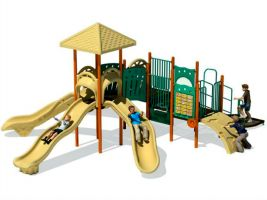 School Playground with Triple Slides!