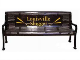 6 ft Two-Tone Logo Perforated Bench