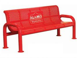 Cut Steel Logo 6ft U-Leg Bench - Perforated