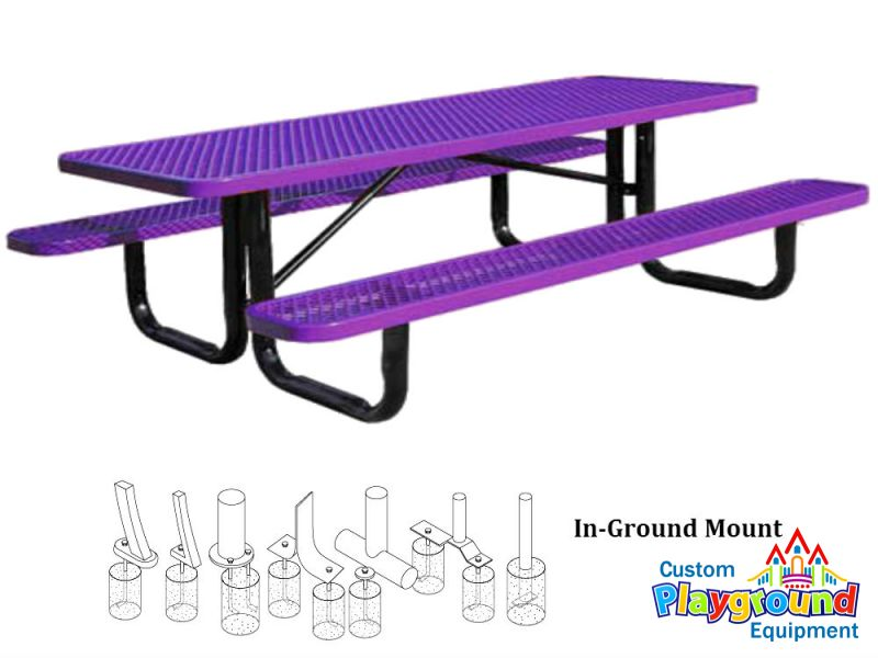 12ft metal picnic table in ground mount for 12 foot picnic table