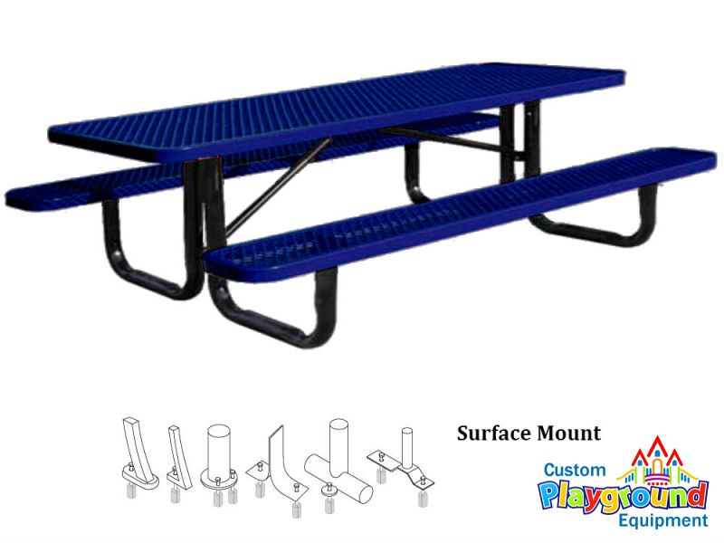 12ft metal picnic table for mounting to concrete slab for 12 foot picnic table