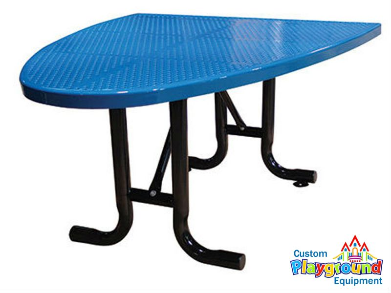 Half Oval Perforated Metal Outdoor Cafe Table