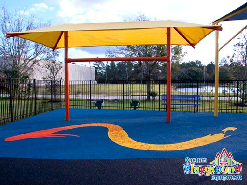 Swinging Playground Equipment : Shaded single post swing with seats