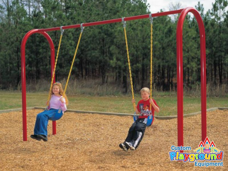 Swinging Playground Equipment : Commercial swing set quot posts arch swingset