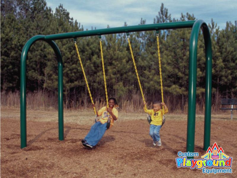 Swinging Playground Equipment : Commercial colored arch swing set frame