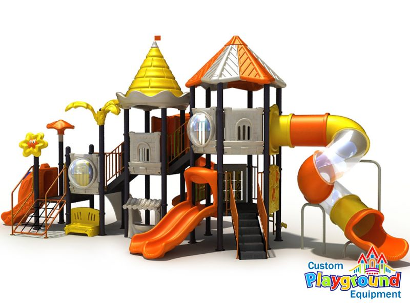 fanciful outdoor playland for children long narrow playground - Commercial Playground Equipment
