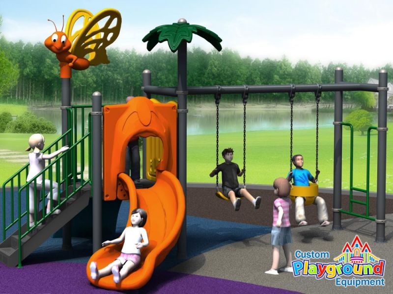 Outdoor Sunday School Swing Slide Playset