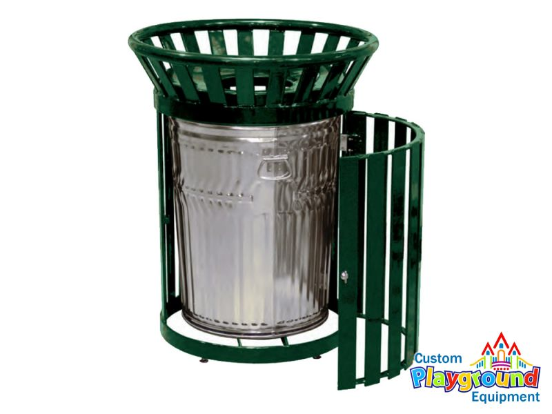 main_image_0  sc 1 st  Custom Playground Equipment & Metal Side Door Trash Can Galv. Liner and Spun Metal Lid ...